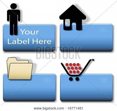 Blue Title Icon Symbol Set: Person; Home House; File Folder; Shopping Cart.  Simply add your title/label in plain white text to create your icon.