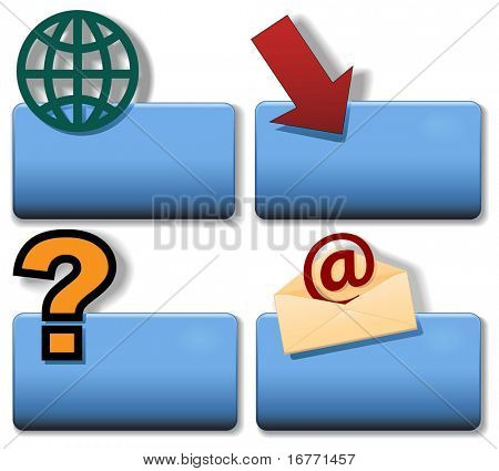 Blue Title Icon Symbol Set: Globe Arrow Question Email.  Simply add your title/label in plain white text to create your icon. Drop shadows included for use on a white background.