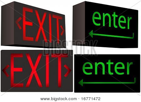 A set of 2 Inner Illuminated Box Signs each from 2 angles: red EXIT and green 'enter' key, with direction arrows.