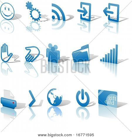 Blue Angled Icon Symbol Set 2: Printer; Gears; Chart; Earth; People; RSS; etc. On white with shadows & reflection