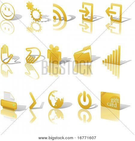 Gold Angled Icon Symbol Set 2: Printer; Gears; Chart; Earth; People; RSS; etc. On white with shadows & reflection