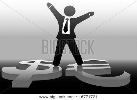 A successful businessman celebrates success astride euro and dollar, currency exchange and international business.