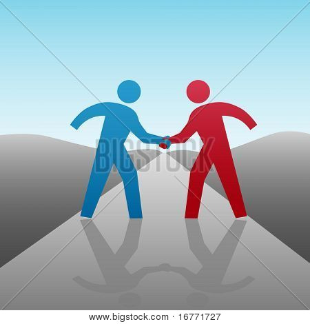 People join in a handshake & agree to progress together & cooperate in a business or other deal as a team.