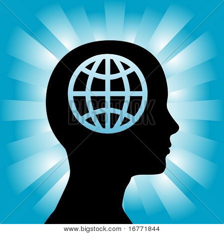 A globe in the head of a silhouette woman as she thinks globally.