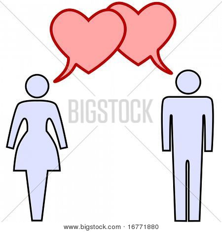 A couple of lovers talk love in heart speech bubbles at valentines or any time.