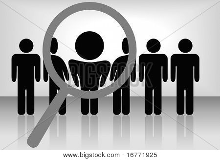 A magnifying glass finds, selects or inspects a person in a line of people: search & choose for employment, recognition, promotion, hire, etc. The people are on a clipping path.