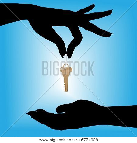 A silhouette female hand holds a house key over a cupped hand against a blue background glow.