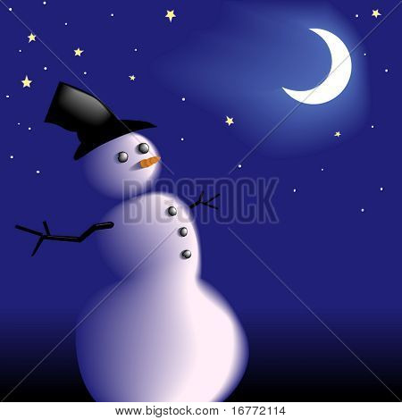 A new snowman with a frosty carrot nose under the moon and stars on a clear cold wintry night. Copy space for your white text.