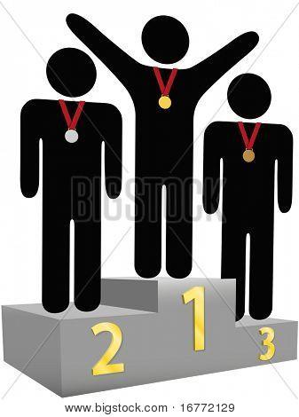 Menschen bekommen Goldene silberne Bronze Medaillen auf drei Ebenen Auszeichnung Podium Plattformen für erste zweite dritte pla