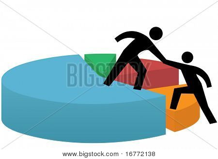 Pessoas de negócios dar e obter uma ajuda Levante a mão para o sucesso em um gráfico de pizza a financeiro.