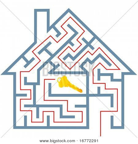 A solution to a real estate home maze puzzle to a gold house key.