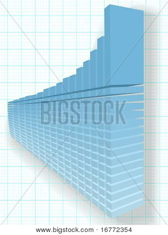 A high rise 3D Financial Bar Chart on a solid foundation of data as a basis for predicting success and growth.