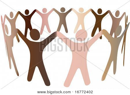 Human skintones join hands and blend together in a ring of diverse multicultural people.