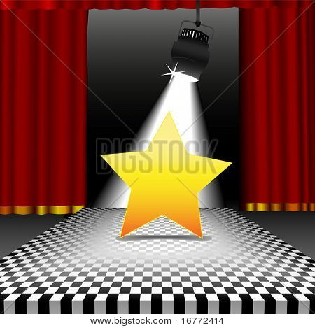 A bright shining star as copyspace in the spotlight on a stage with a disco style checkerboard tile floor with red curtains.