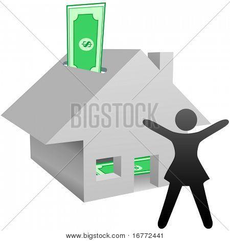 Uma pessoa de símbolo comemora a trabalhar, em casa, renda, casa como banco com redução ou aumento no valor