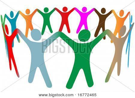 Mezcla de degradado de un grupo diverso de personas símbolo de muchos colores levantar sus manos en un anillo.