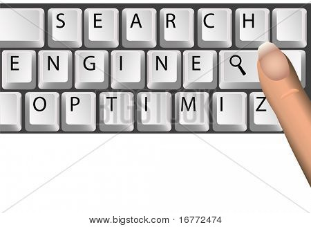 SEO computer keyboard with magnifying glass symbol of Search Engine Optimization keywords, website searches.