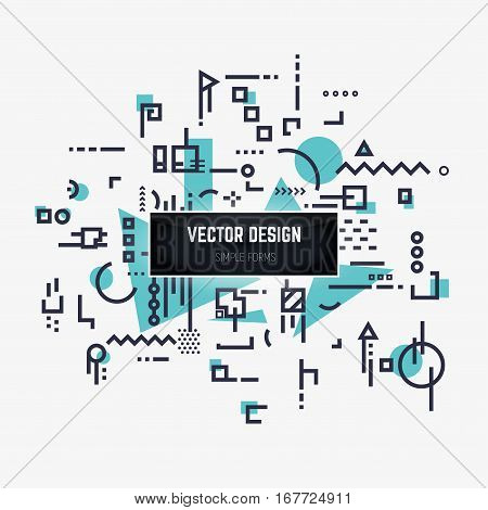 Linear abstract background with black lines and dots with geometric shapes triangles squares and circles. Design for brochure flyer or book cover. Stock vector illustration.