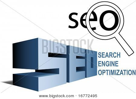 SEO elements Magnifying Glass Search Engine Optimization icon and BIG letters.