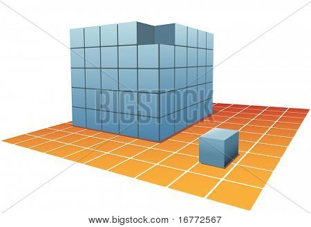 An abstract blue cube chosen from stacks of puzzle boxes or cartons on a grid tile floor.