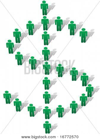 A group of green symbol people stand and cast shadows to form a large money dollar sign view from above.