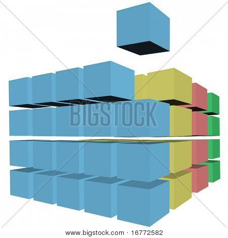 A cube rises up from rows and stacks of 3D cubes, boxes, or cartons in colors as a puzzle solution.