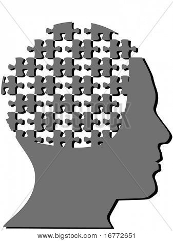 Jigsaw puzzle pieces as the mind in the profile head of a man with a few pieces missing.
