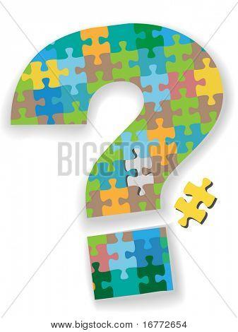 Um puzzle colorido de ponto de interrogação com a peça que faltava como um símbolo de sua solução de busca.