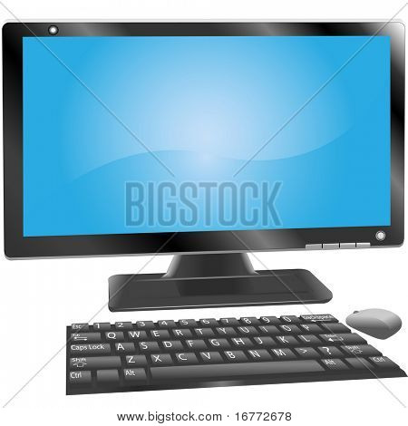 A desktop PC computer with monitor, qwerty keyboard with key labels, and a mouse.