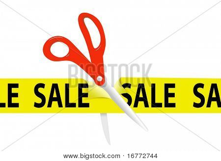 A pair of orange scissors cut a bright yellow SALE SALE SALE ribbon tape for retail store or website event.