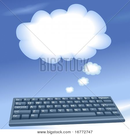 Cloud computing speech bubble clouds rise into a blue sky from an internet computer keyboard.