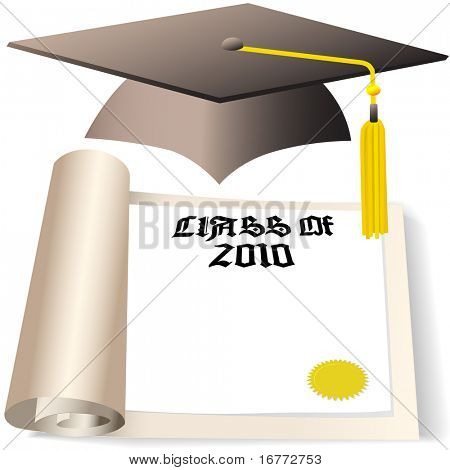 A Graduation Cap and Diploma with copyspace for the graduating Class of 2010.