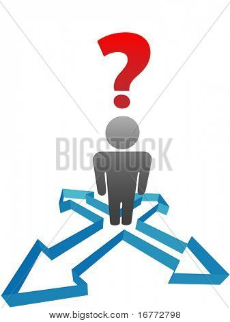 An undecided symbol person needs help standing at an intersection of possibilities.