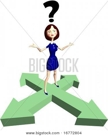 A cartoon woman under a question mark as indecision concept or help to answer a question on direction arrows.