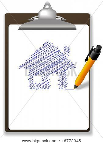 An orange ball point pen drawing plan or sketch of a house in blue ink on white copy space of a page of paper on a  clipboard.