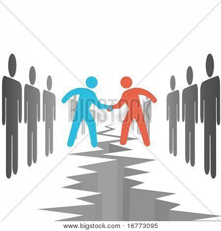 Menschen auf beiden Seiten der Opposition machen ein Geschäft Vereinbarung Settle Unterschiede über einen Abgrund Riss.