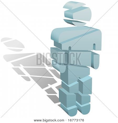 A 3D symbol person cut or sliced up into many pieces.