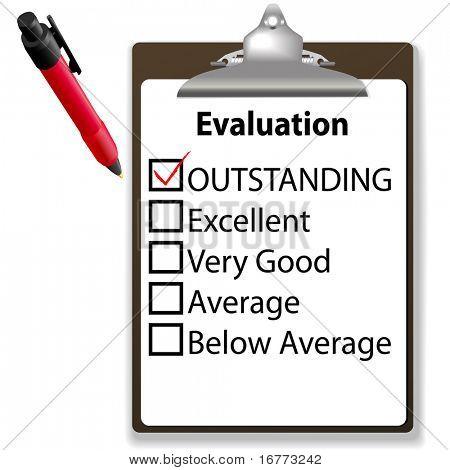 Uma avaliação para emprego desempenho vermelho, marca de seleção na caixa pendente com a área de transferência e tinta de caneta.