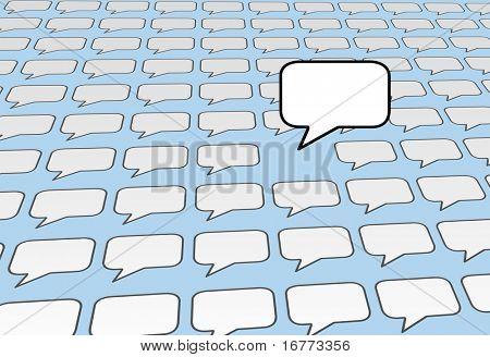 Einer Rede Blase Kopie Raum Stimme spricht über den Lärm der sozialen Medien oder Blog Stimmen auf blau backg