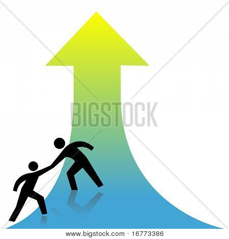 Persona presta una mano amiga para éxito flecha arriba a un amigo.