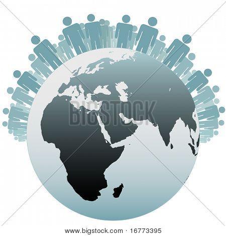 Viele Menschen stehen auf der Nordhalbkugel als Symbole für die Bevölkerung der Erde.