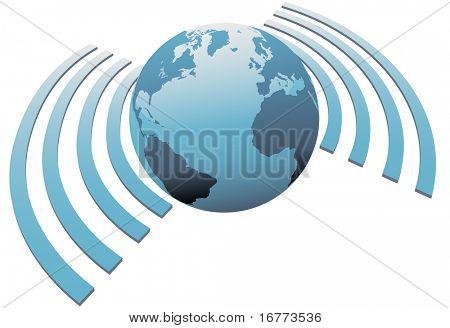 Símbolo de mundo inalámbrico wifi tierra banda ancha de acceso a internet en todo el mundo.