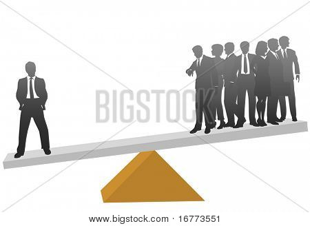 One business man on a scale is worth his weight compared to a group of many workers.