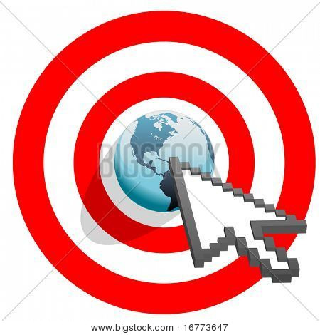 Internet cursor arrow clicks on search engine marketing SEM world in target bulls eye.