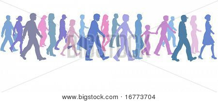 A population of people of many colors walk forward together.