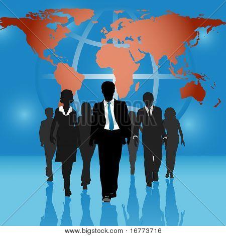 Equipe de negócios internacionais, as pessoas vão para a frente em plano de fundo do mundo mapa globo.