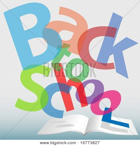 Colorful BACK TO SCHOOL words fall on open text book pages.