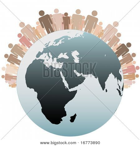 Many diverse people stand on the Western Hemisphere as symbols of the Population of Earth.