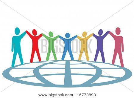 A global group of symbol people hold up their arms and hold hands around a globe in a spirit of togetherness.