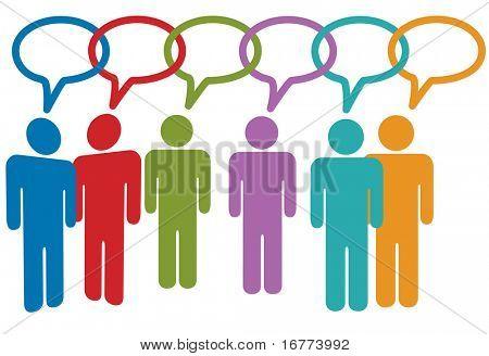 Social-Media-Leute reden in Rede Blase Kette von Links.